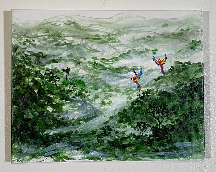 """""""Misty Forest with Parrots"""""""