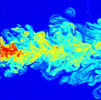 This picture is a false-color image of the far-field of a submerged turbulent jet, made visible by means of laser induced fluorescence (LIF)