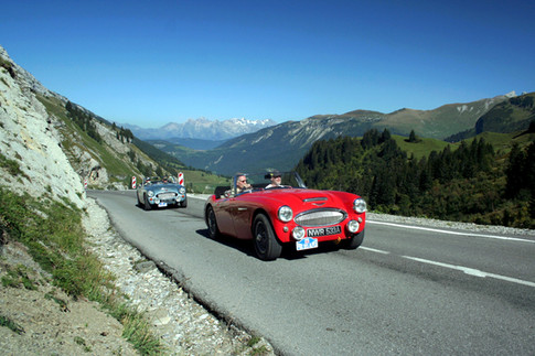 Col de La Colombiere in the French Alps - Prix des Alpes Rally 2006- Healey 3000 with Club Member Alwyn Marland behind in similar car