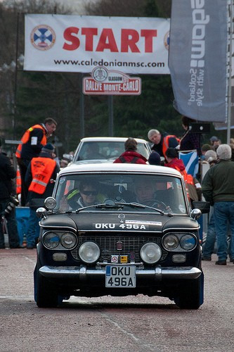 Fiat 1500 Berlina. 1962, this pic is of Joy and I setting off from Glasgow on the Monte Carlo Classique. Its got.some history, but in a nut shell it lived in Sicily for almost 40 years, and was tweeked by the real Abarth Factory in Milan, its original engine was replaced by a.Fiat twin cam and a 5 sp g/box. It was dragged through 11 auctions and didn't find a keeper, then it ended up under a tree in Derbyshire, with a tree growing through the floor and its own brand of moss everywhere inside. Took 2 years to rebuild, now managed to get most of the body panels to complete