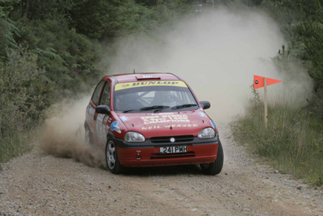 Neil Weaver & Nick Thornton in their BTRDA winning Corsa on the 2 Day Cork Forestry Rally, Cork, Ireland in 2006 - winning their classby over 3 minutes.