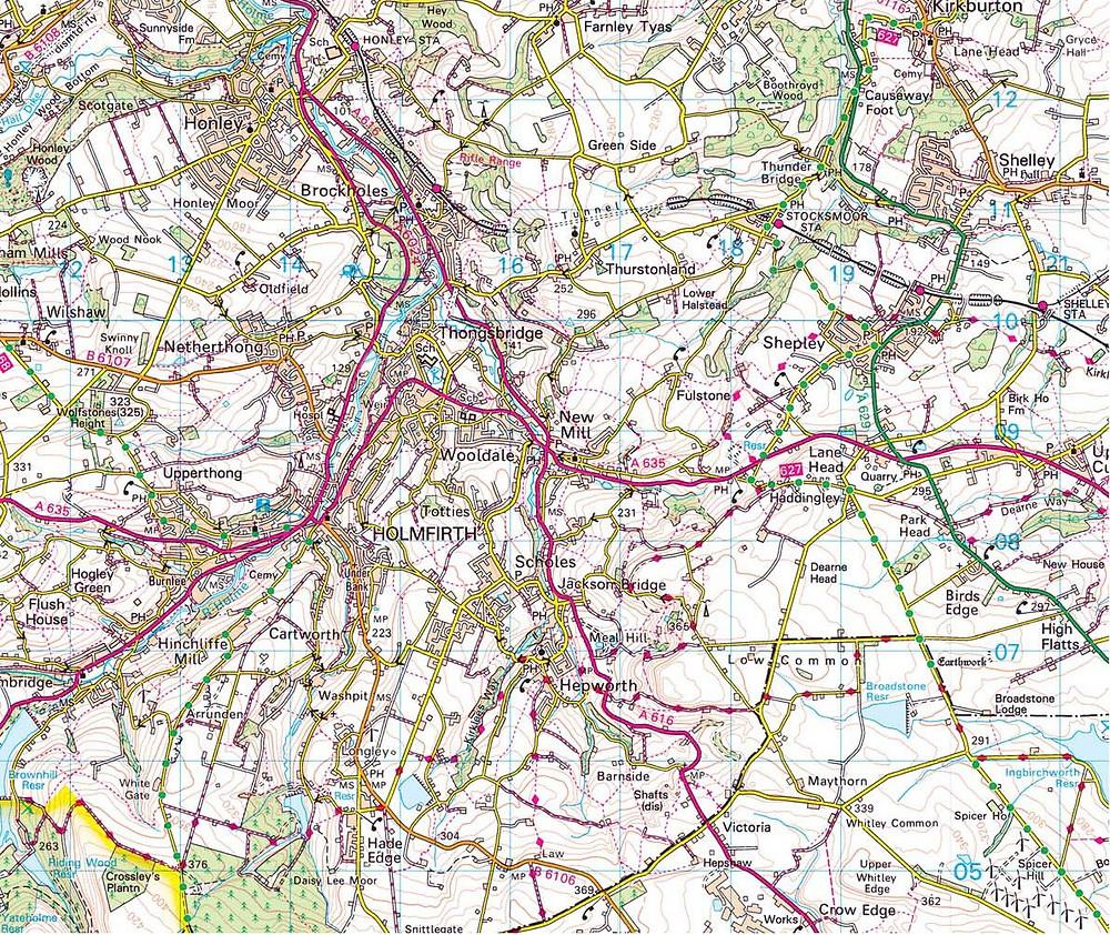 Holmfirth OS Map Area