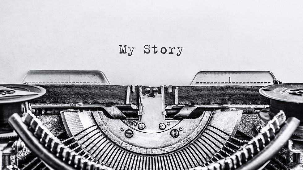 My Story typed words on a vintage typewr