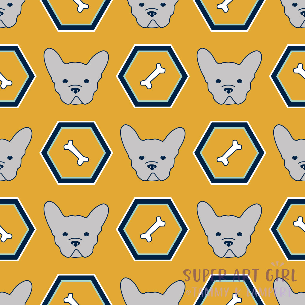 French Bulldogs Hexagon Yellow