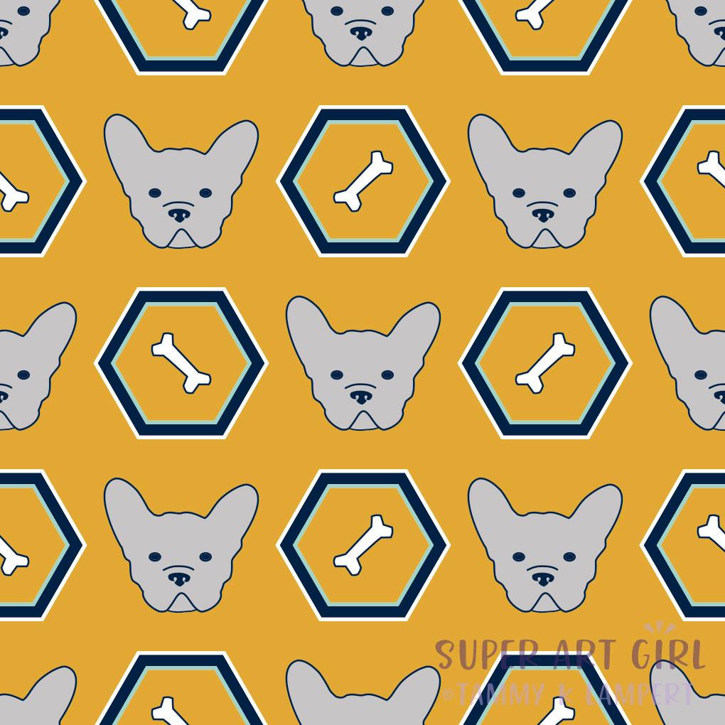 French Bulldogs Hexagon Yellow