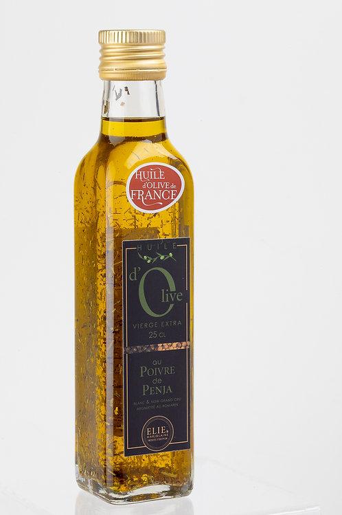 Huile d'olive vierge extra au poivre noir et blanc de Penja