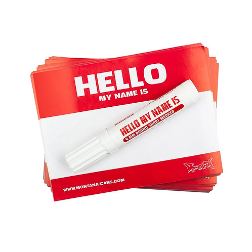 MONTANA 'HELLO MY NAME IS' STICKER PACK. Red'