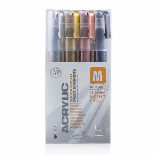 MONTANA ACRYLIC METALLIC MARKER SET. 2MM FINE.  (4 pack)