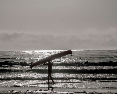Surfer on California Beach