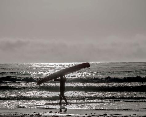 Surfer on California Beach