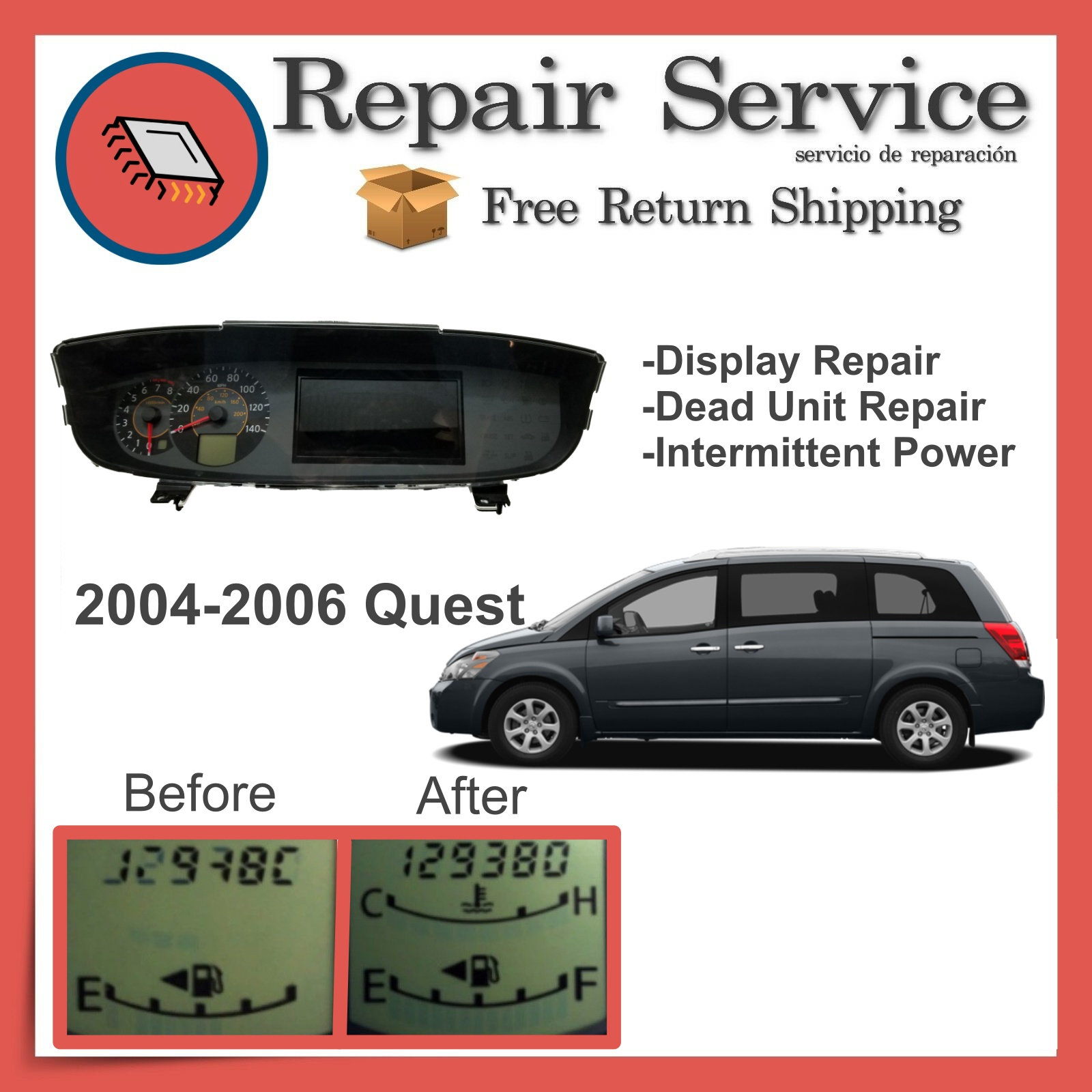 2004-2006 Nissan Quest Gauge Cluster Repair Service