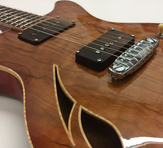 figured cherry custom electric guitar so