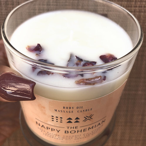 11 oz Large Glass All Natural Body Oil Candle - Shea Butter Infused