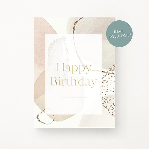 Greeting Cards | Abstract Blush Happy Birthday
