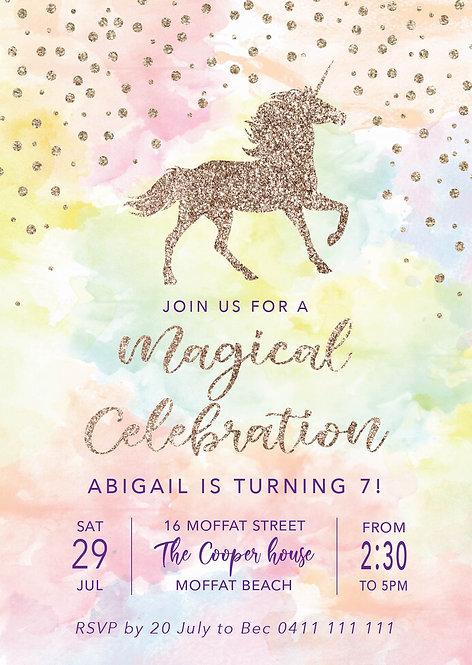 Kids Birthday Invitations   Unicorn Glitter