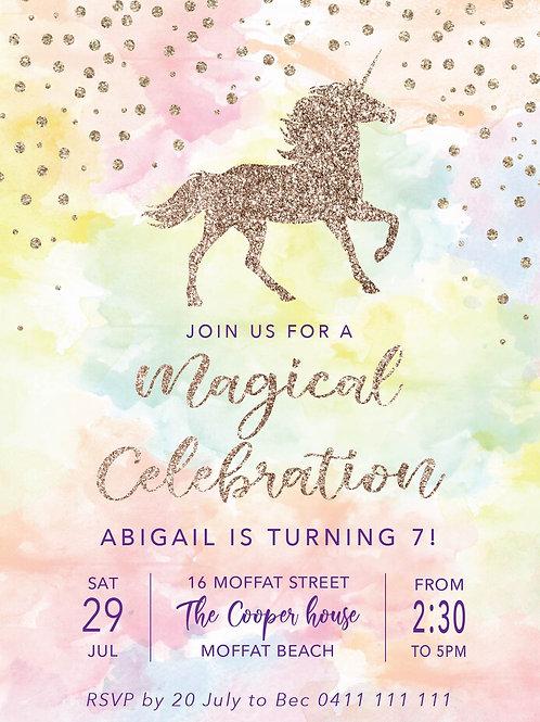 Kids Birthday Invitations | Unicorn Glitter