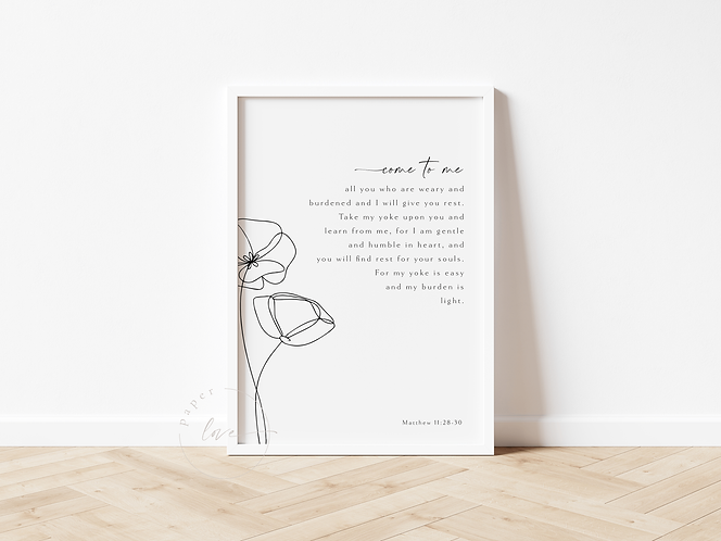 Inspired Prints | Matthew 11: 28-30 | Come to Me