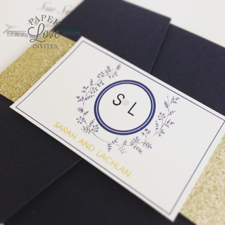 Paper Love Invites | Navy pocket invitation with gold foil, glitter belly band and diamantes