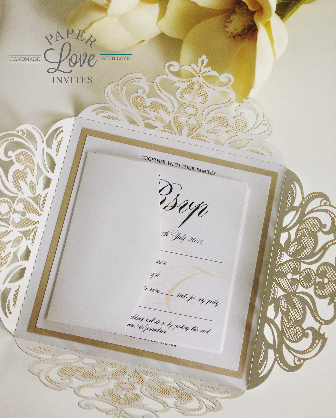 Paper Love Invites | White laser cut invitations layered with ...