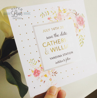 Paper Love Invites   Gold foil with pink florals save the date