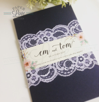 Paper Love Invites | Rustic Floral Lace Navy Pocket Invitations