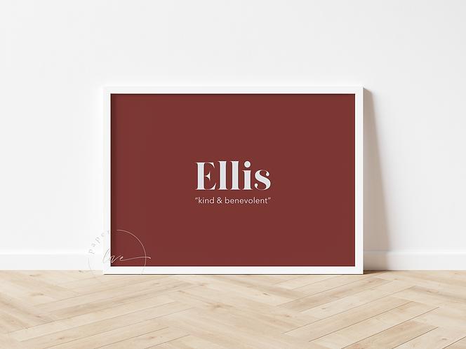 Modern Birth Print   Ellis