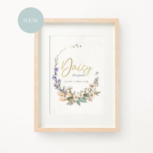 Gold Foil Floral Birth Print | Daisy