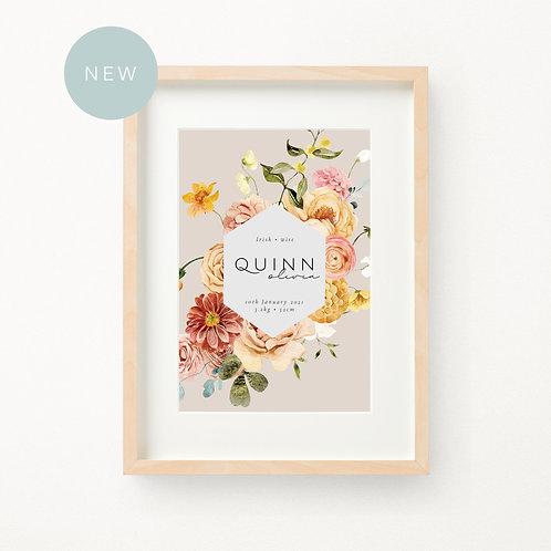 Boho Floral Birth Print | Quinn
