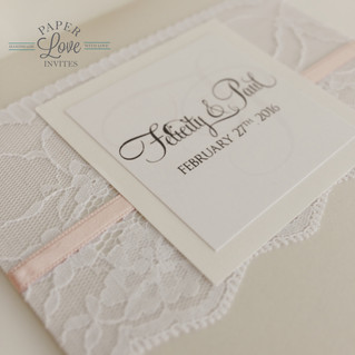 Paper Love Invites   Grey pearlescent pocket invitation with blush pink ribbon and white lace band