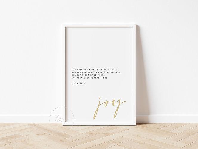 Inspired Prints | Gold Foil | Psalm 16:11 | Joy