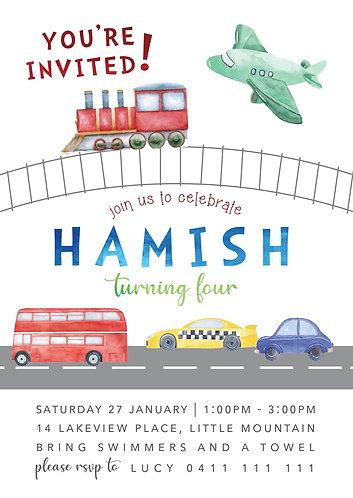Kids Birthday Invitations | Transport