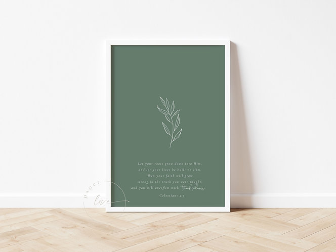 Inspired Prints | Colossians 2:7 | Roots - Seedling