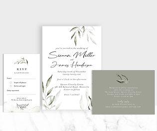 Watercolour greenery wedding invitation suite
