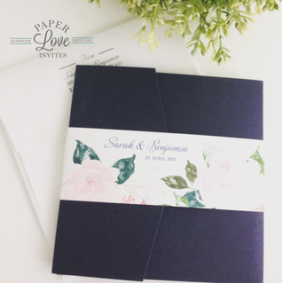 Paper Love Invites | Navy pocket invitation with pink watercolour roses
