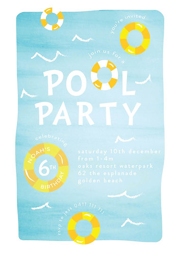 Kids Birthday Invitations | Pool Party