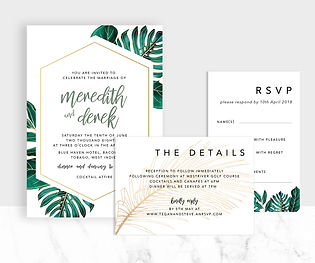 Tropical greenery and gold wedding invitation suite