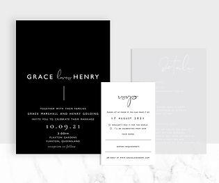Modern black and white wedding invitation suite