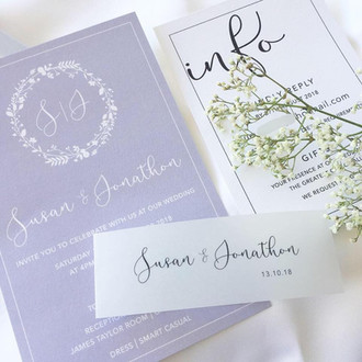 Paper Love Invite   Whimsical dusty blue and vellum band invitation