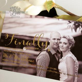 Paper Love Invites   gold foil printing on photo post wedding celebration invitation