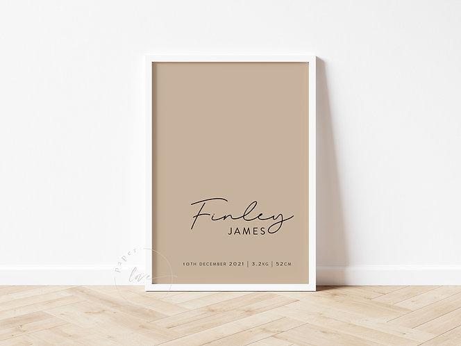 Script Birth Print   Finley