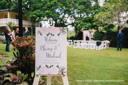 Paper Love Invites | ceremony welcome sign with watercolour pink roses
