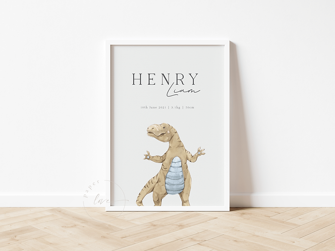 Watercolour Dino Birth Print   Henry