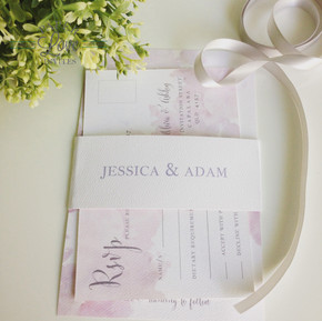 Paper Love Invites   Blush pink watercolour with grey print on textured white card