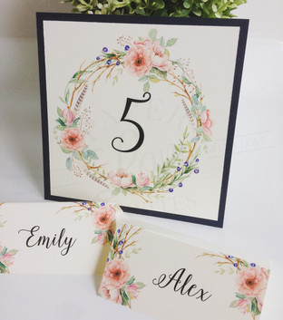 Paper Love Invites | Rustic Floral Lace Navy Pocket Table Numbers and Place Cards