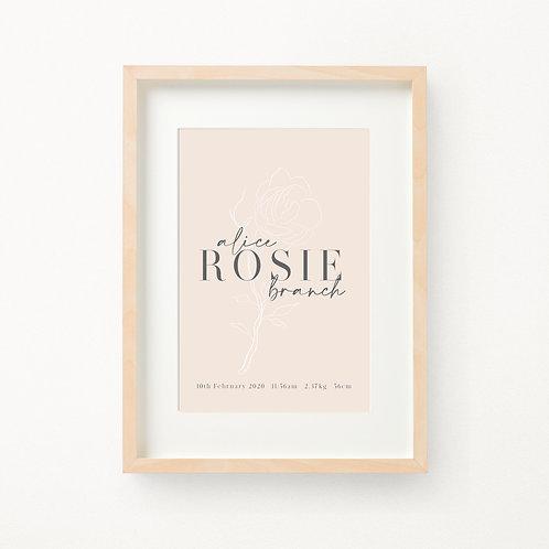 Vintage Floral Birth Print | Rosie