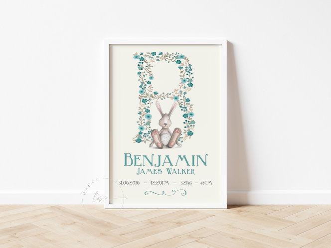 Bunny Birth Print | Benjamin