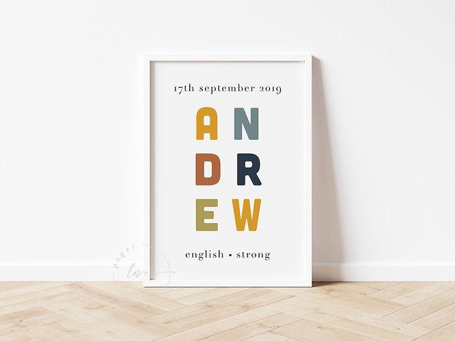 Colour Birth Print | Andrew