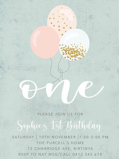 Kids Birthday Invitations | Vintage Balloons