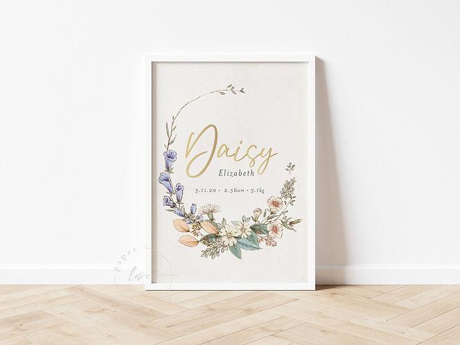 Gold Foil Floral Birth Print   Daisy