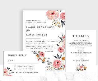 Boho florals wedding invitation suite